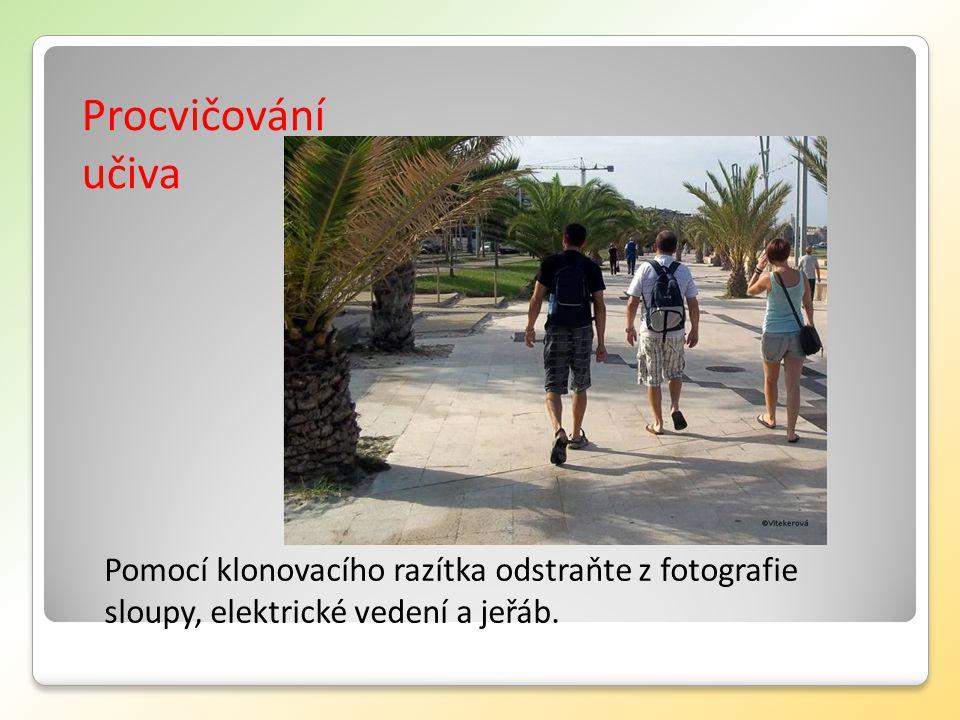 Procvičování učiva Pomocí klonovacího razítka odstraňte z fotografie sloupy, elektrické vedení a jeřáb.