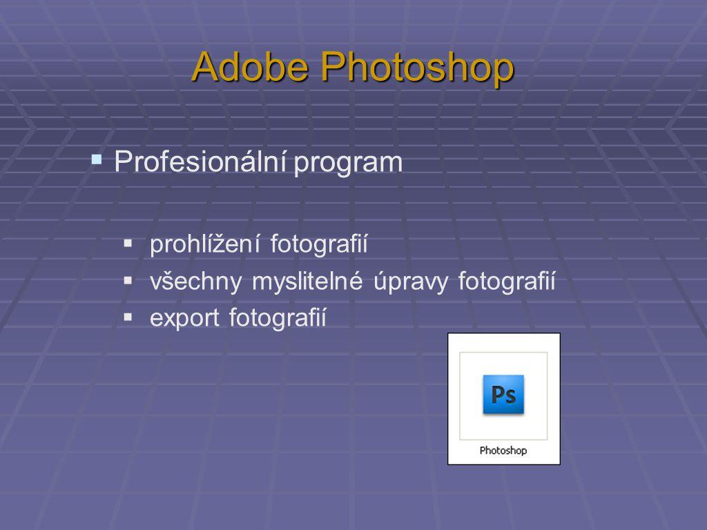 Adobe Photoshop  Profesionální program  prohlížení fotografií  všechny myslitelné úpravy fotografií  export fotografií