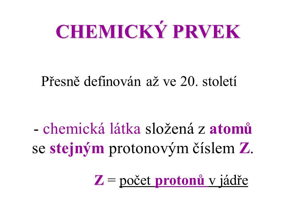 CHEMICKÝ PRVEK Přesně definován až ve 20. století - chemická látka složená z atomů se stejným protonovým číslem Z.Z. ZZ ZZ = počet protonů v jádře