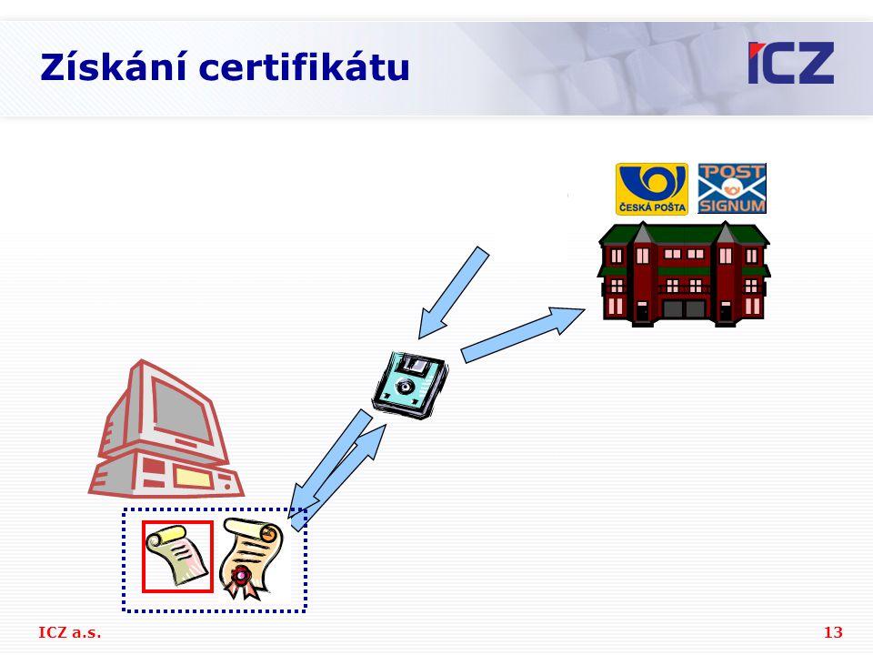 13ICZ a.s. Získání certifikátu