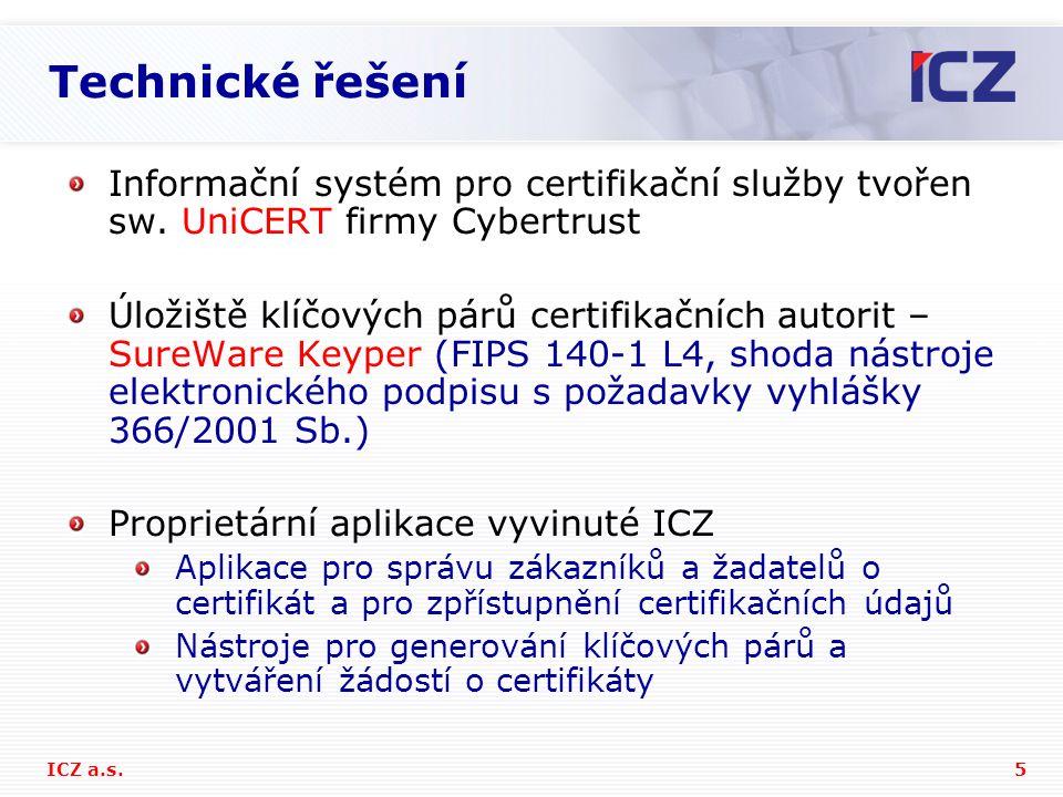 5ICZ a.s. Technické řešení Informační systém pro certifikační služby tvořen sw. UniCERT firmy Cybertrust Úložiště klíčových párů certifikačních autori