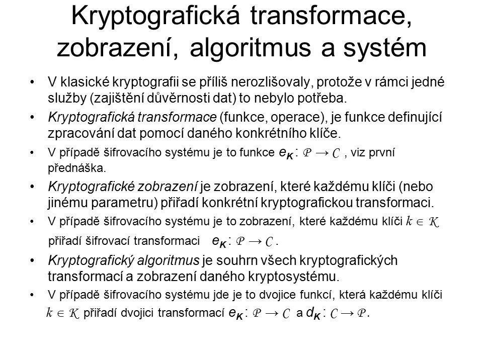Kryptografická transformace, zobrazení, algoritmus a systém V klasické kryptografii se příliš nerozlišovaly, protože v rámci jedné služby (zajištění důvěrnosti dat) to nebylo potřeba.
