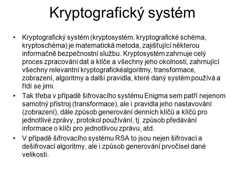 Kryptografický systém Kryptografický systém (kryptosystém, kryptografické schéma, kryptoschéma) je matematická metoda, zajišťující některou informačně bezpečnostní službu.