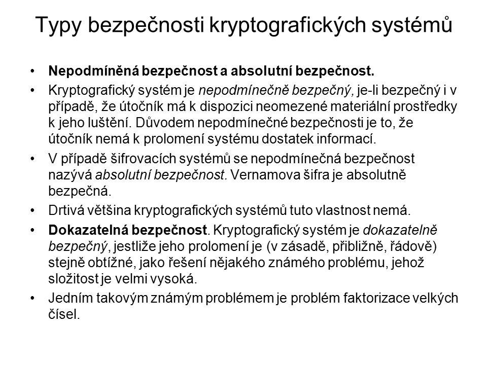Typy bezpečnosti kryptografických systémů Nepodmíněná bezpečnost a absolutní bezpečnost.