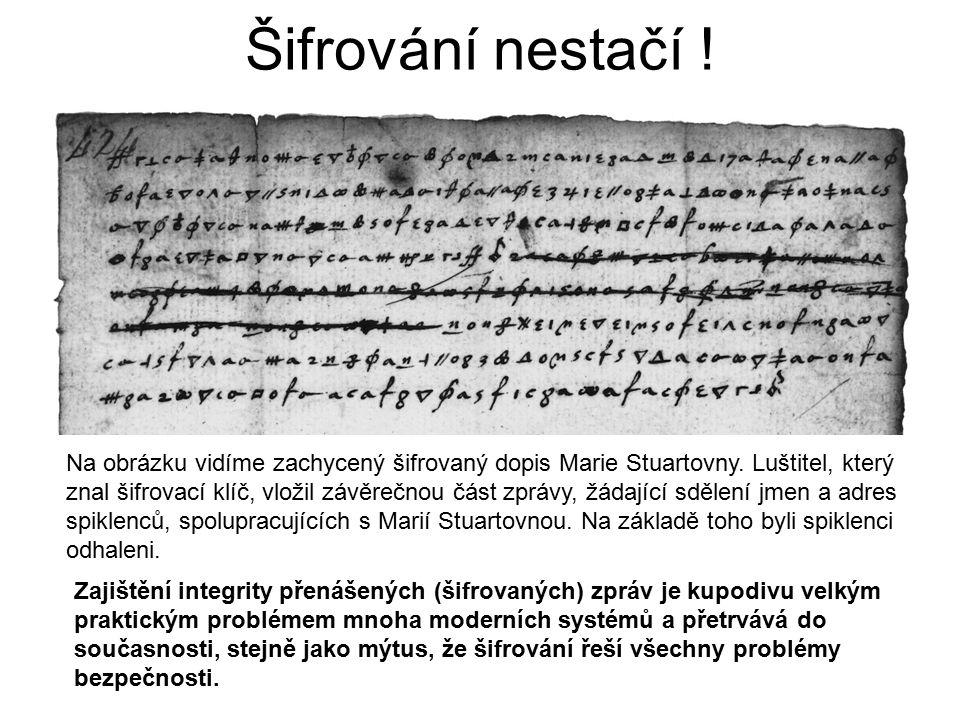 Šifrování nestačí . Na obrázku vidíme zachycený šifrovaný dopis Marie Stuartovny.
