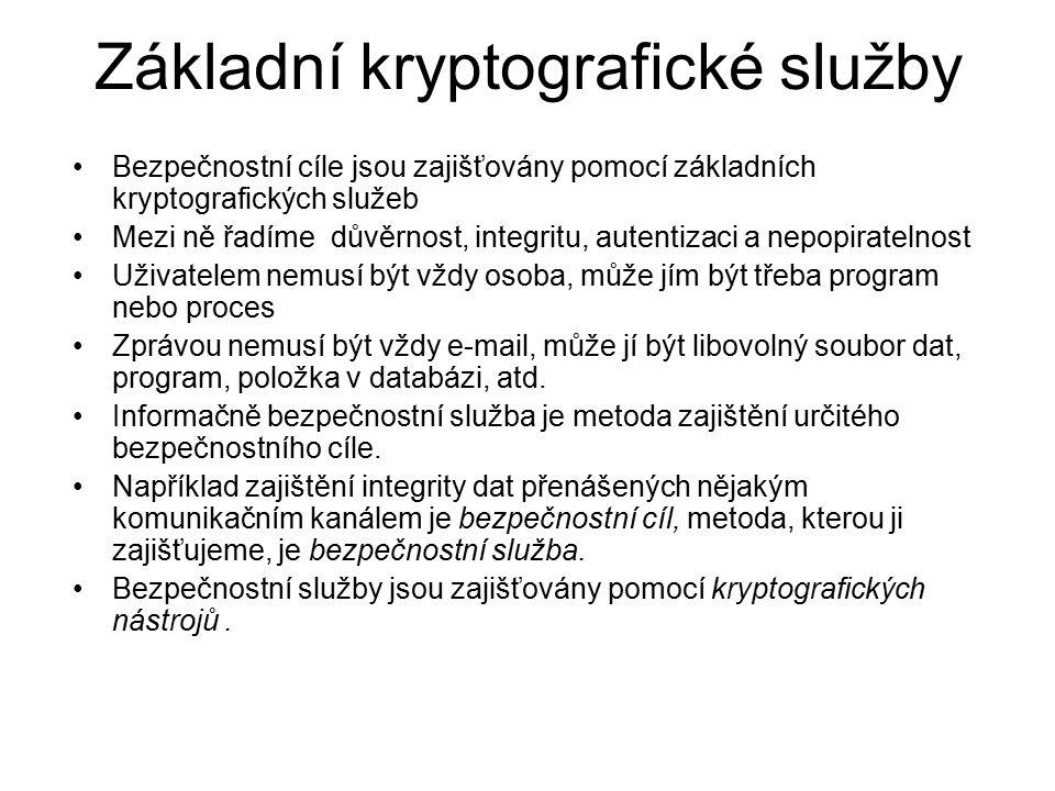 Kryptografické nástroje Nebo také kryptografické mechanismy.