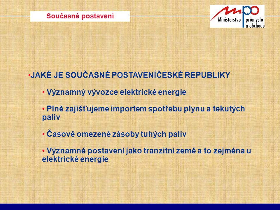 Současné postavení JAKÉ JE SOUČASNÉ POSTAVENÍČESKÉ REPUBLIKY Významný vývozce elektrické energie Plně zajišťujeme importem spotřebu plynu a tekutých p