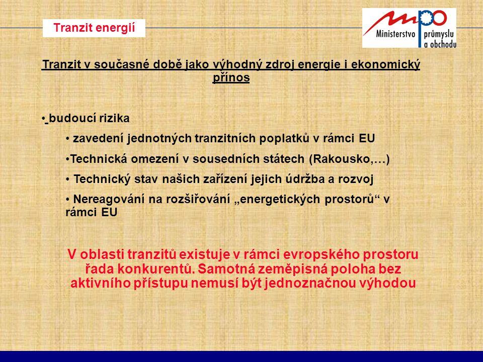 Závěr Pro zachování evropsky významného postavení České Republiky v energetických odvětvích je nutné : udržet maximálně možnou energetickou soběstačnost zachovat přebytek bilance v elektroenergetice udržovat a rozšiřovat naše tranzitní možnosti urychleně řešit problematiku primárních paliv (územní limity či jaderná energie) stupňovat tlak na zvyšování účinnosti, úspory a využití obnovitelných a druhotných zdrojů energie.