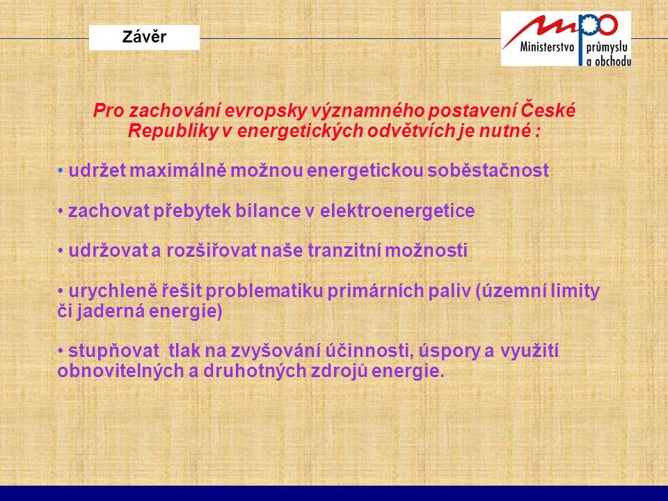 Závěr Pro zachování evropsky významného postavení České Republiky v energetických odvětvích je nutné : udržet maximálně možnou energetickou soběstačno