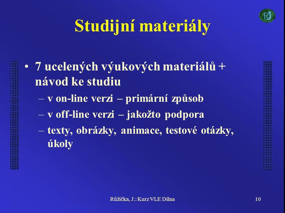 Růžička, J.: Kurz VLE Dílna10 Studijní materiály 7 ucelených výukových materiálů + návod ke studiu –v on-line verzi – primární způsob –v off-line verzi – jakožto podpora –texty, obrázky, animace, testové otázky, úkoly J R