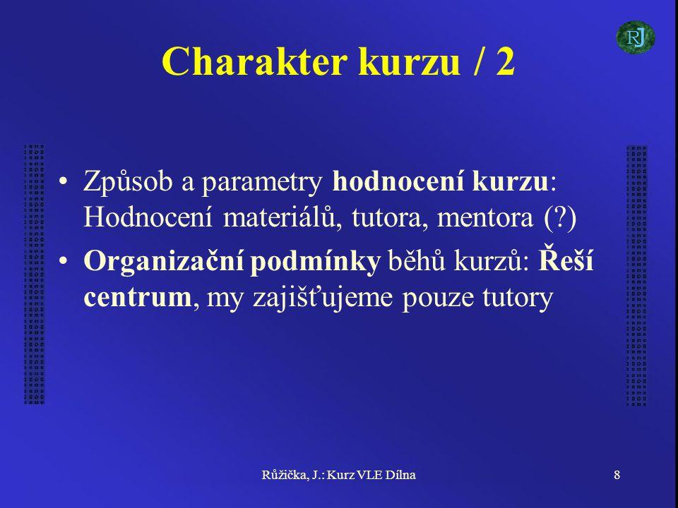 Růžička, J.: Kurz VLE Dílna8 Charakter kurzu / 2 Způsob a parametry hodnocení kurzu: Hodnocení materiálů, tutora, mentora (?) Organizační podmínky běhů kurzů: Řeší centrum, my zajišťujeme pouze tutory J R