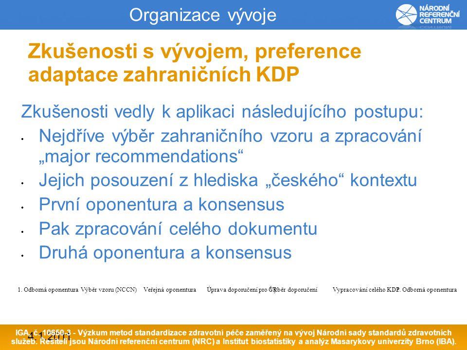 4.1.2011 Metodiky vývoje KDP NRC 1.Základem vývoje KDP jsou vědecké důkazy (EBM) 2.