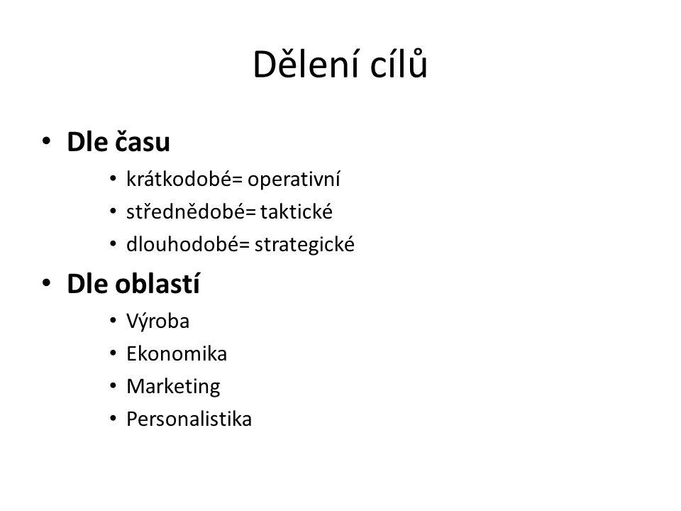 Dělení cílů Dle času krátkodobé= operativní střednědobé= taktické dlouhodobé= strategické Dle oblastí Výroba Ekonomika Marketing Personalistika