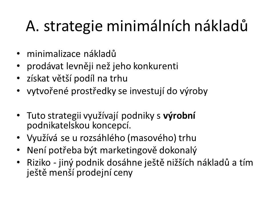 A. strategie minimálních nákladů minimalizace nákladů prodávat levněji než jeho konkurenti získat větší podíl na trhu vytvořené prostředky se investuj