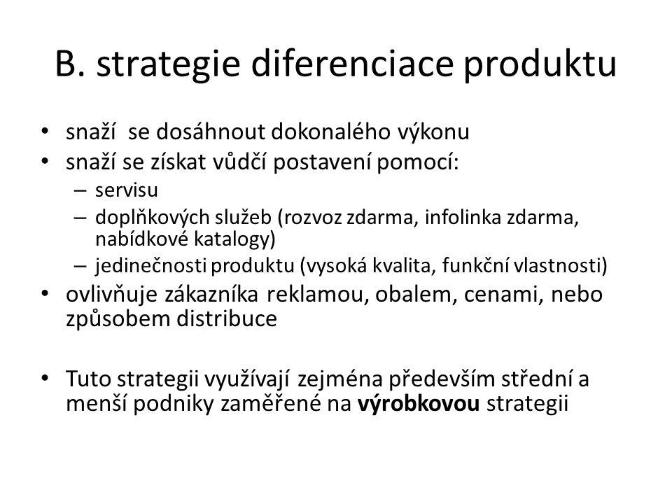 B. strategie diferenciace produktu snaží se dosáhnout dokonalého výkonu snaží se získat vůdčí postavení pomocí: – servisu – doplňkových služeb (rozvoz