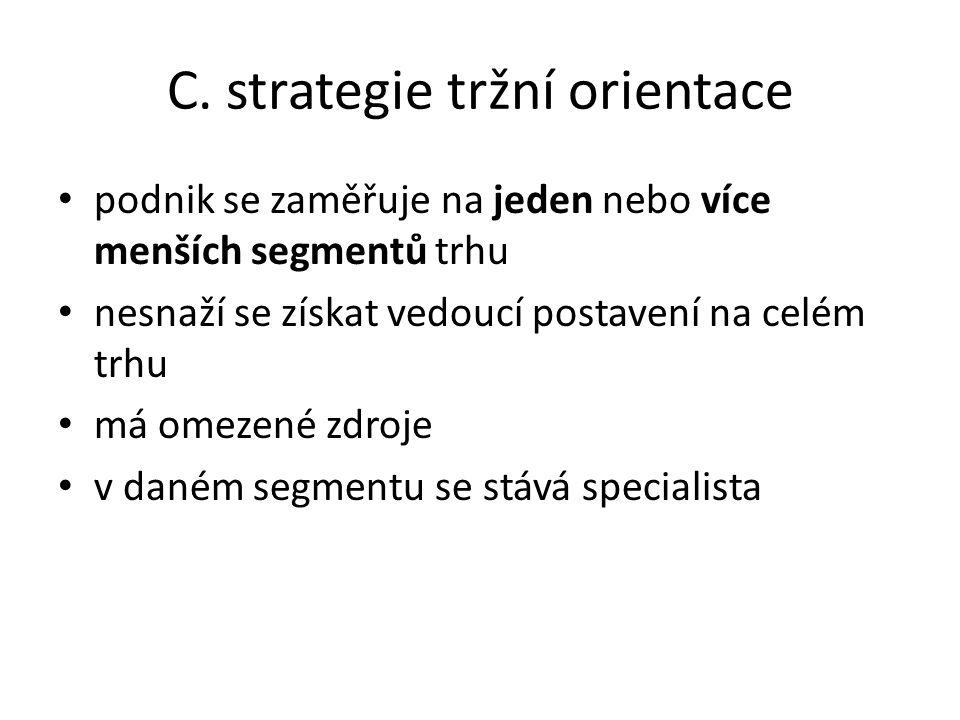 C. strategie tržní orientace podnik se zaměřuje na jeden nebo více menších segmentů trhu nesnaží se získat vedoucí postavení na celém trhu má omezené