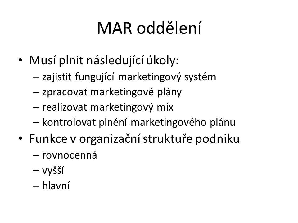 MAR oddělení Musí plnit následující úkoly: – zajistit fungující marketingový systém – zpracovat marketingové plány – realizovat marketingový mix – kon