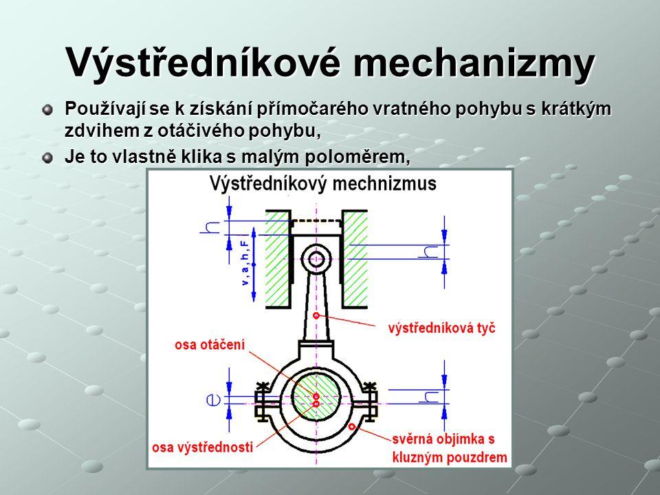 Výstředníkové mechanizmy Používají se k získání přímočarého vratného pohybu s krátkým zdvihem z otáčivého pohybu, Je to vlastně klika s malým poloměrem,