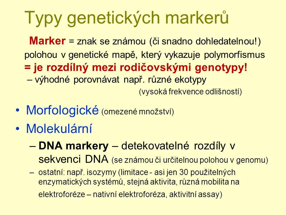 Typy genetických markerů Marker = znak se známou (či snadno dohledatelnou!) polohou v genetické mapě, který vykazuje polymorfismus = je rozdílný mezi rodičovskými genotypy.