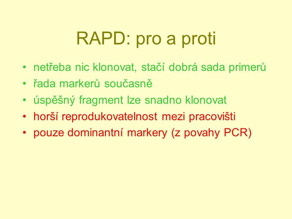 RAPD: pro a proti netřeba nic klonovat, stačí dobrá sada primerů řada markerů současně úspěšný fragment lze snadno klonovat horší reprodukovatelnost mezi pracovišti pouze dominantní markery (z povahy PCR)