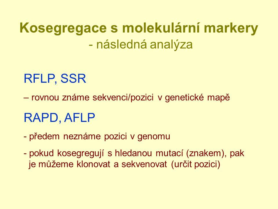 Kosegregace s molekulární markery - následná analýza RFLP, SSR – rovnou známe sekvenci/pozici v genetické mapě RAPD, AFLP - předem neznáme pozici v genomu - pokud kosegregují s hledanou mutací (znakem), pak je můžeme klonovat a sekvenovat (určit pozici)