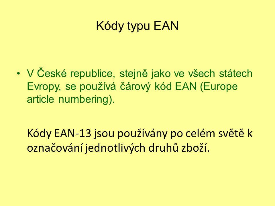 Kódy typu EAN V České republice, stejně jako ve všech státech Evropy, se používá čárový kód EAN (Europe article numbering). Kódy EAN-13 jsou používány