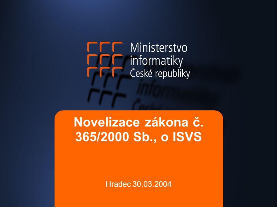 Novelizace zákona č. 365/2000 Sb., o ISVS Hradec 30.03.2004