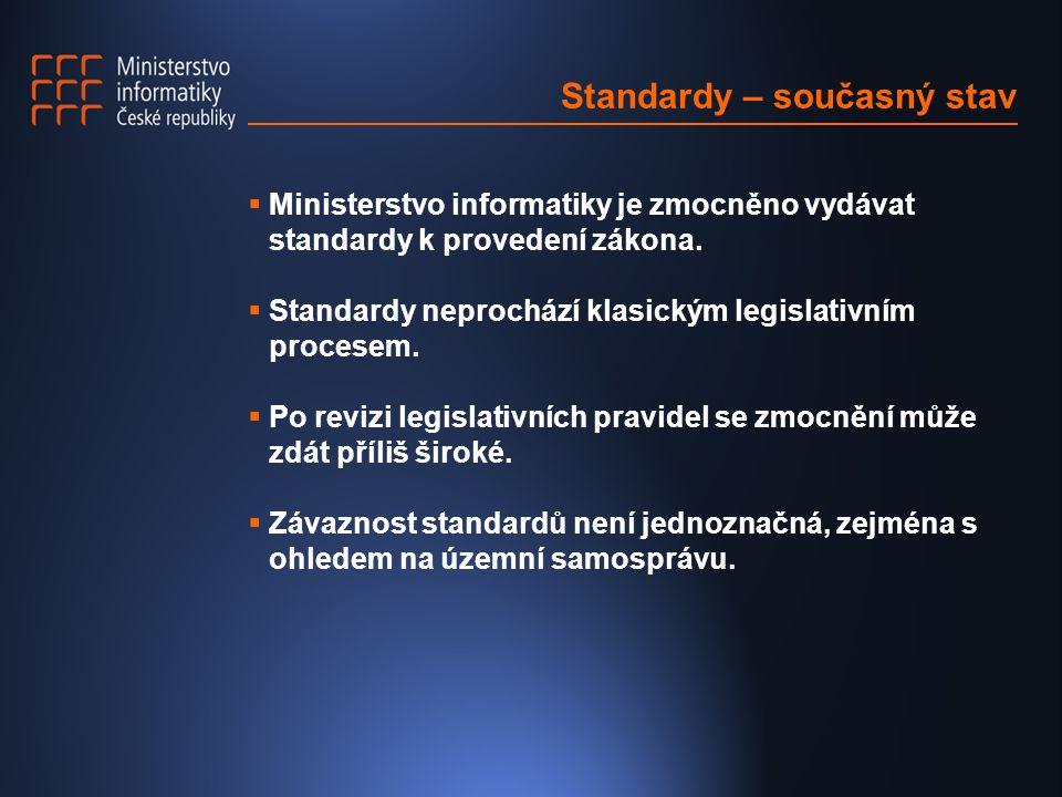 Standardy – Vyhlášky- Metodické pokyny  Stávající standardy se v budoucnu rozdělí do dvou forem: - vyhláška, obecně závazný právní předpis vydaný na základě přesného zákonného zmocnění ve Sbírce zákonů, - metodický pokyn sloužící jako doporučující stanovisko Ministerstva informatiky vydaný ve Věstníku.
