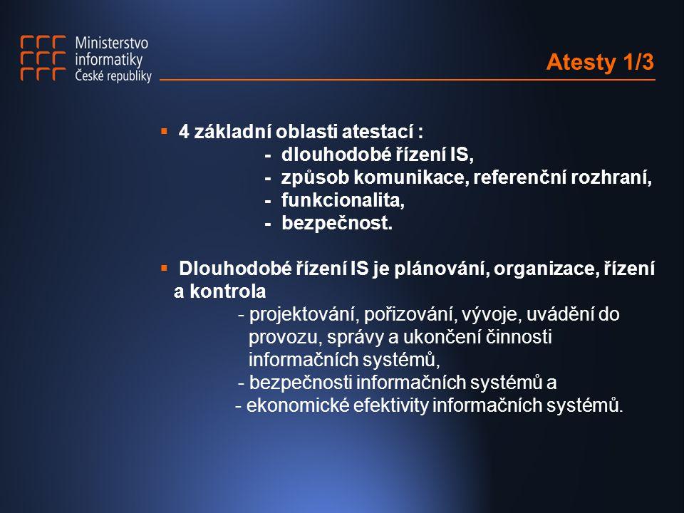 Atesty 1/3  4 základní oblasti atestací : - dlouhodobé řízení IS, - způsob komunikace, referenční rozhraní, - funkcionalita, - bezpečnost.