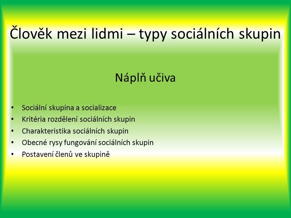 Náplň učiva Sociální skupina a socializace Kritéria rozdělení sociálních skupin Charakteristika sociálních skupin Obecné rysy fungování sociálních skupin Postavení členů ve skupině Člověk mezi lidmi – typy sociálních skupin