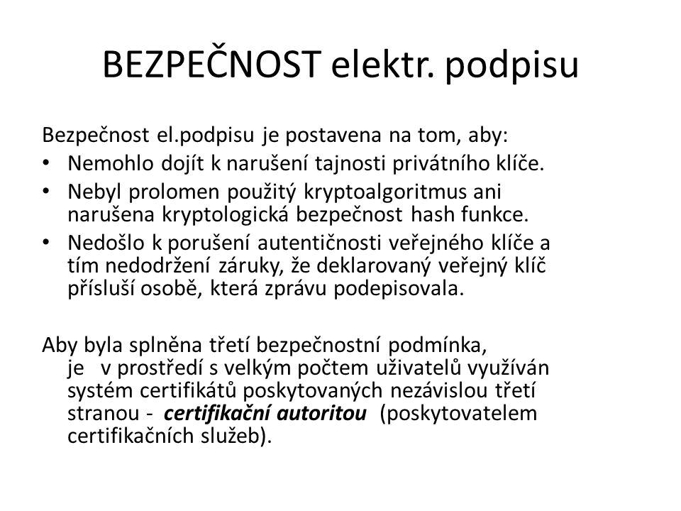 BEZPEČNOST elektr. podpisu Bezpečnost el.podpisu je postavena na tom, aby: Nemohlo dojít k narušení tajnosti privátního klíče. Nebyl prolomen použitý