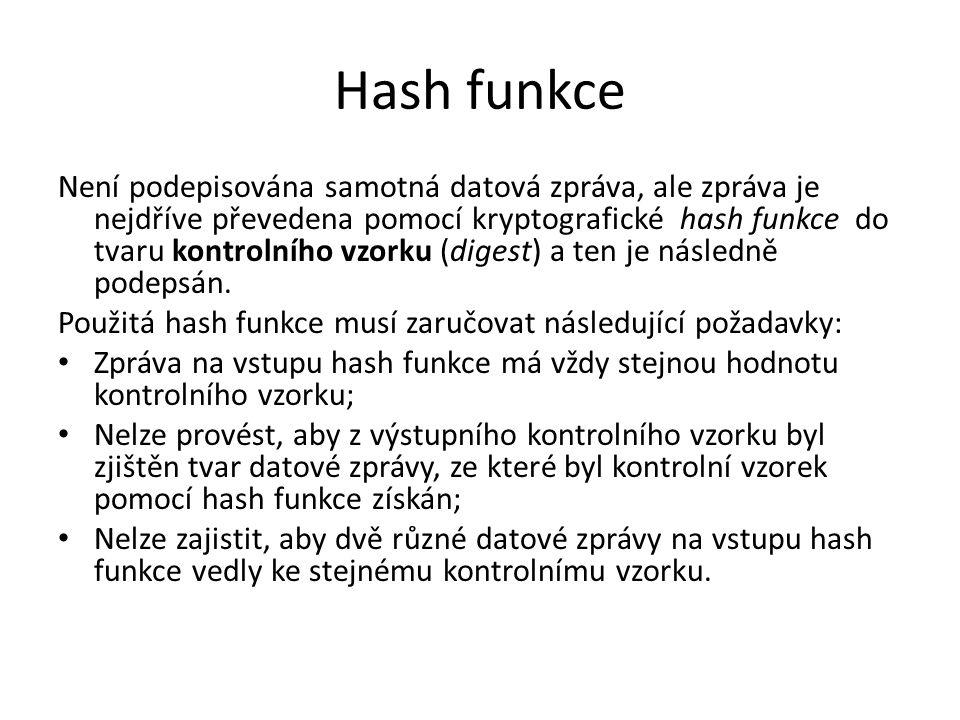 Hash funkce Není podepisována samotná datová zpráva, ale zpráva je nejdříve převedena pomocí kryptografické hash funkce do tvaru kontrolního vzorku (digest) a ten je následně podepsán.