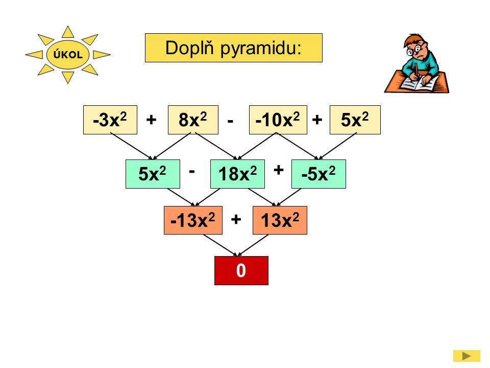 Doplň pyramidu: -3x 2 8x 2 -10x 2 5x 2 ++- -+ + 18x 2 -5x 2 -13x 2 13x 2 0 ÚKOL