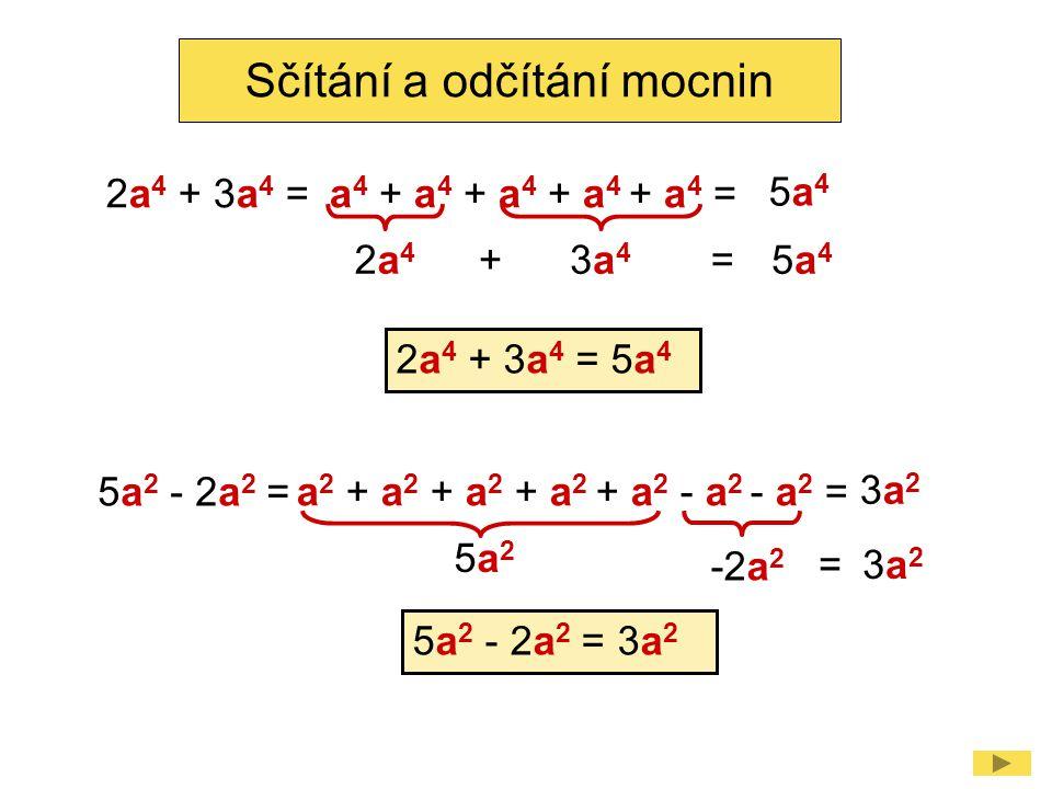 2a42a4 2a 4 + 3a 4 = Sčítání a odčítání mocnin 5a 4 3a43a4 += a 4 + a 4 + a 4 + a 4 + a 4 = 5a45a4 2a 4 + 3a 4 = 5a 4 5a 2 - 2a 2 = 3a 2 5a25a2 5a 2 -