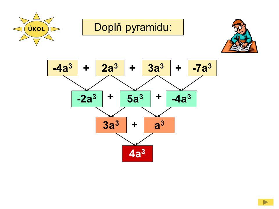 Doplň pyramidu: -4a 3 2a 3 3a 3 -7a 3 +++ ++ + -2a 3 5a 3 -4a 3 3a 3 a3a3 4a 3 ÚKOL