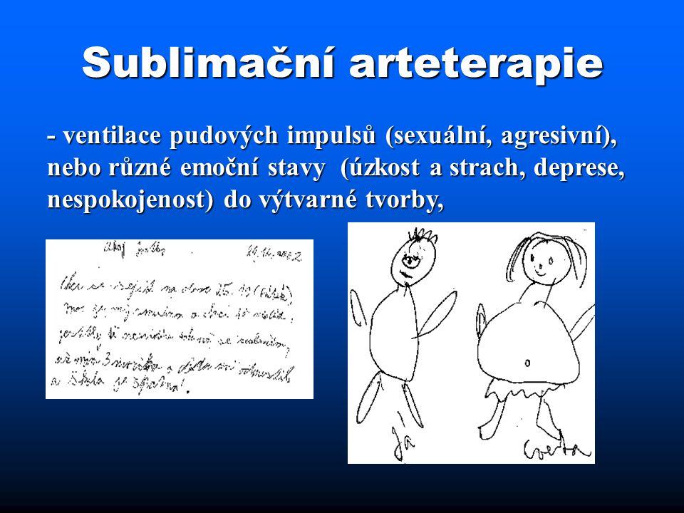 Sublimační arteterapie - ventilace pudových impulsů (sexuální, agresivní), nebo různé emoční stavy (úzkost a strach, deprese, nespokojenost) do výtvar