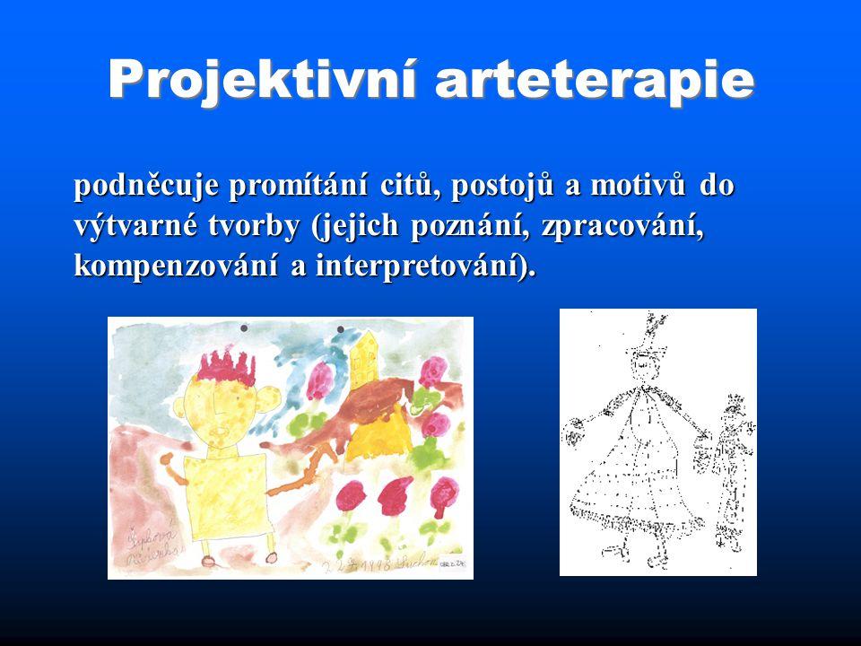 Projektivní arteterapie podněcuje promítání citů, postojů a motivů do výtvarné tvorby (jejich poznání, zpracování, kompenzování a interpretování).