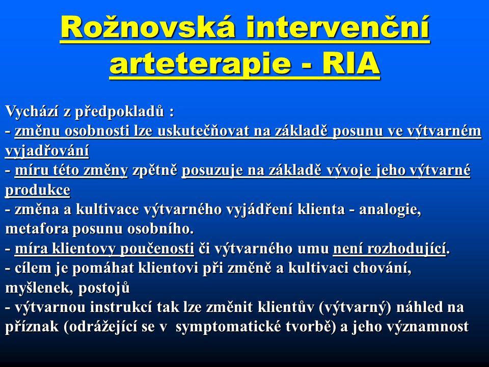 Rožnovská intervenční arteterapie - RIA Vychází z předpokladů : - změnu osobnosti lze uskutečňovat na základě posunu ve výtvarném vyjadřování - míru t