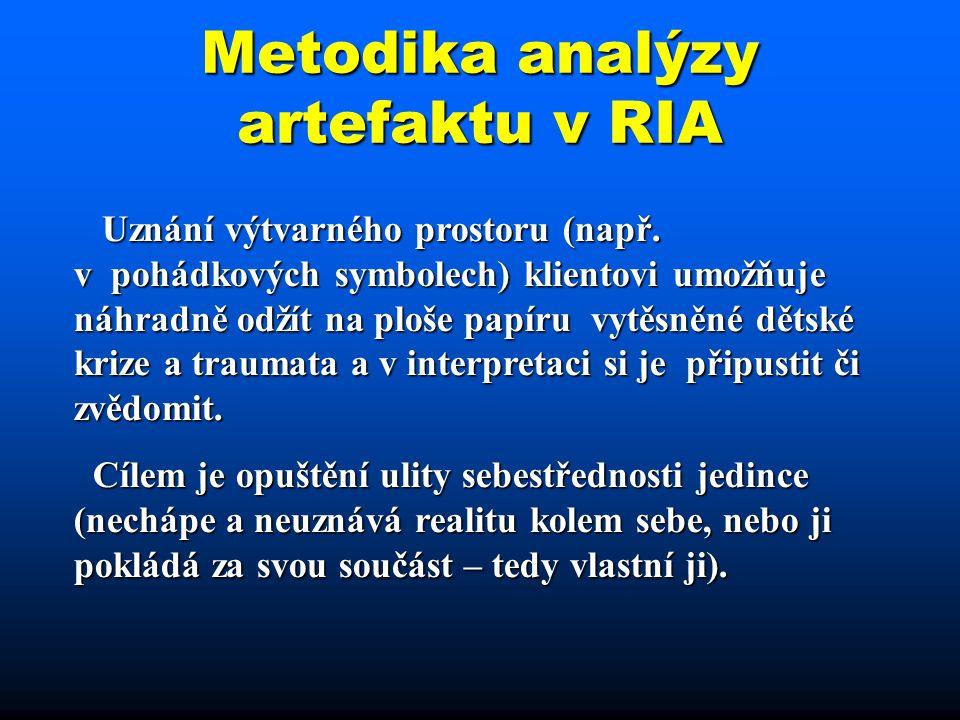 Metodika analýzy artefaktu v RIA Uznání výtvarného prostoru (např. v pohádkových symbolech) klientovi umožňuje náhradně odžít na ploše papíru vytěsněn