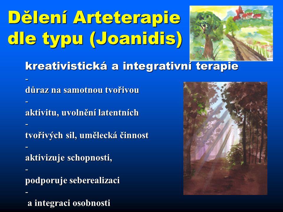 Dělení Arteterapie dle typu (Joanidis) K kreativistická a integrativní terapie -d důraz na samotnou tvořivou -a aktivitu, uvolnění latentních -t tvoři