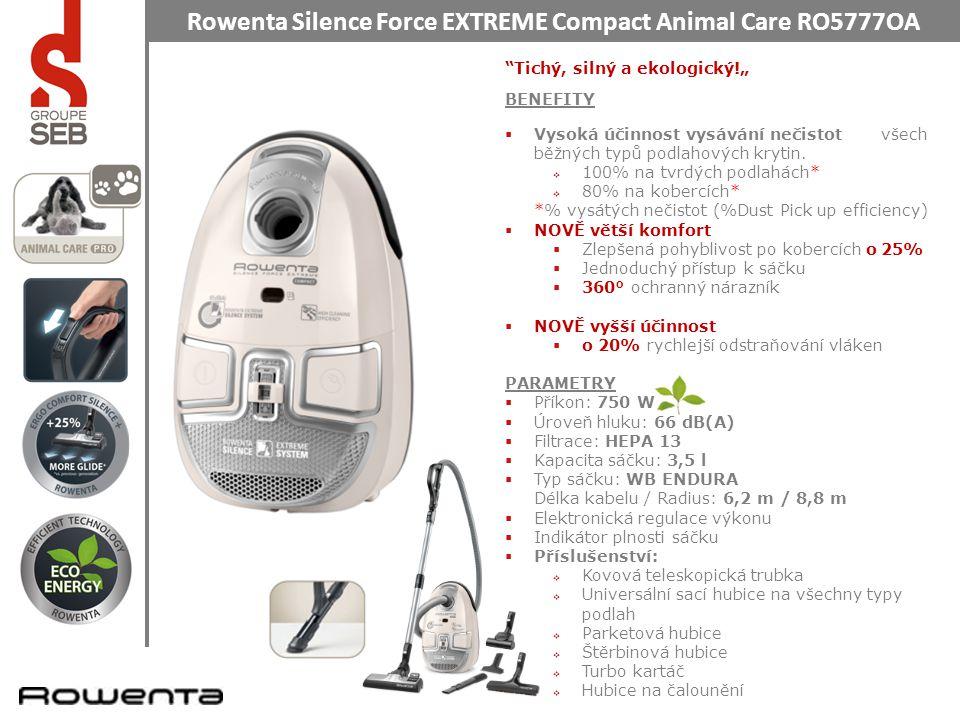"""Rowenta Silence Force EXTREME Compact Animal Care RO5777OA Tichý, silný a ekologický!"""" BENEFITY  Vysoká účinnosť vysávania nečistôt všetkých bežných typov podlahových krytín."""