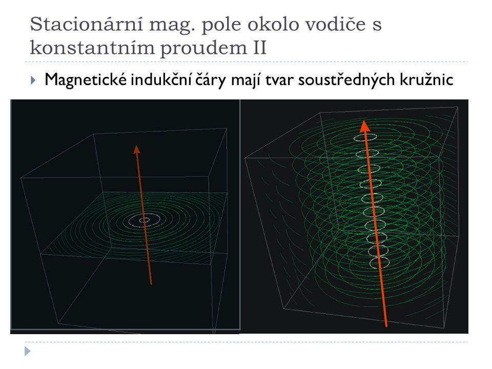 Stacionární mag. pole okolo vodiče s konstantním proudem II  Magnetické indukční čáry mají tvar soustředných kružnic