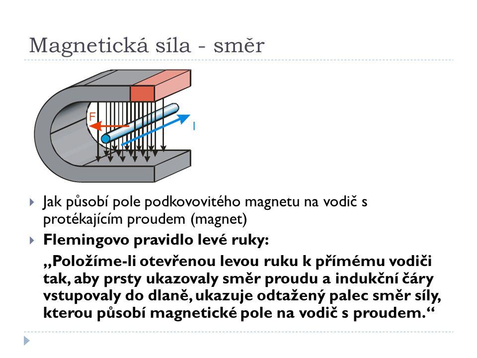 """Magnetická síla - směr  Jak působí pole podkovovitého magnetu na vodič s protékajícím proudem (magnet)  Flemingovo pravidlo levé ruky: """"Položíme-li"""