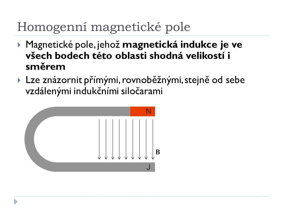 B Homogenní magnetické pole  Magnetické pole, jehož magnetická indukce je ve všech bodech této oblasti shodná velikostí i směrem  Lze znázornit přím