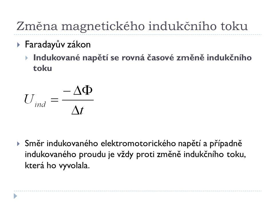 Změna magnetického indukčního toku  Faradayův zákon  Indukované napětí se rovná časové změně indukčního toku  Směr indukovaného elektromotorického