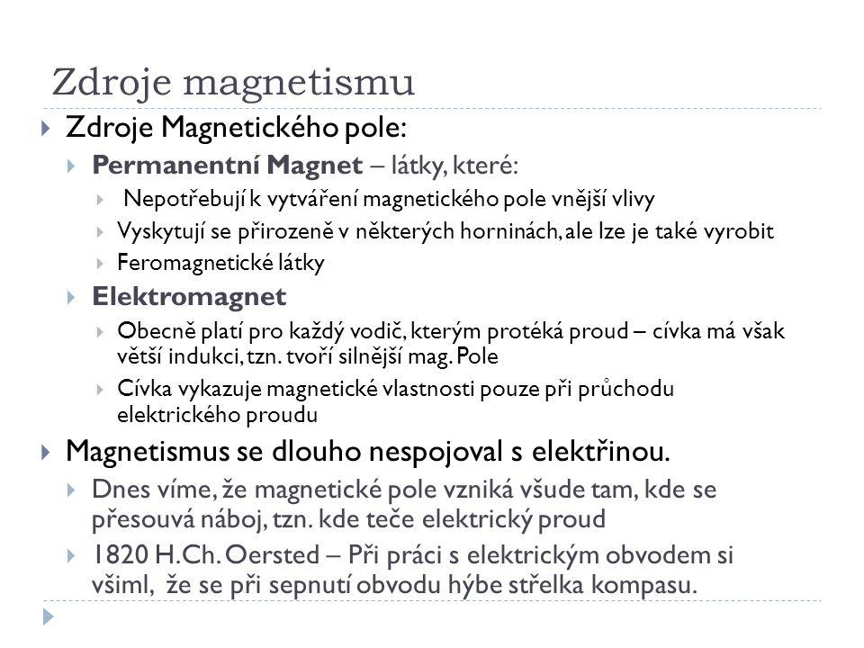 Zdroje magnetismu  Zdroje Magnetického pole:  Permanentní Magnet – látky, které:  Nepotřebují k vytváření magnetického pole vnější vlivy  Vyskytuj