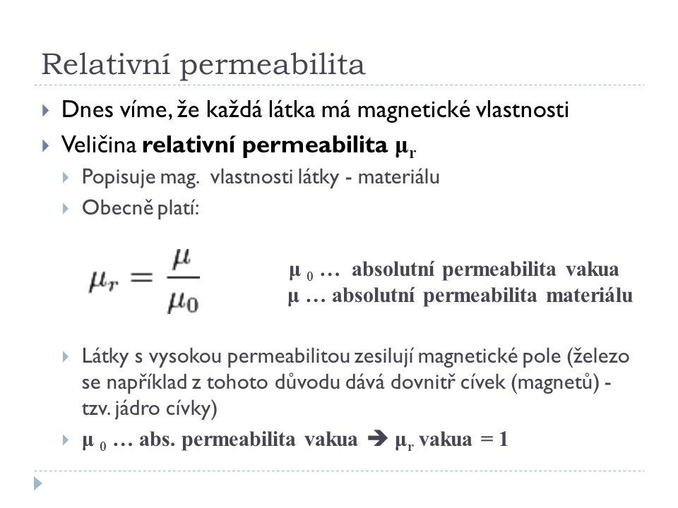 Relativní permeabilita  Dnes víme, že každá látka má magnetické vlastnosti  Veličina relativní permeabilita μ r  Popisuje mag. vlastnosti látky - m