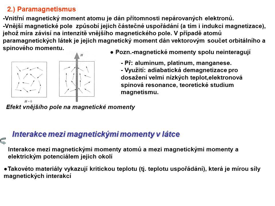 Existuje několik druhů magnetických interakcí, jimiž magnetické momenty jednotlivých atomů mezi sebou komunikují: 1).