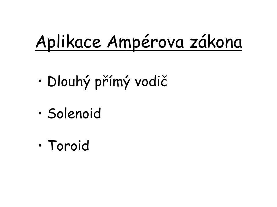 Aplikace Ampérova zákona Dlouhý přímý vodič Solenoid Toroid