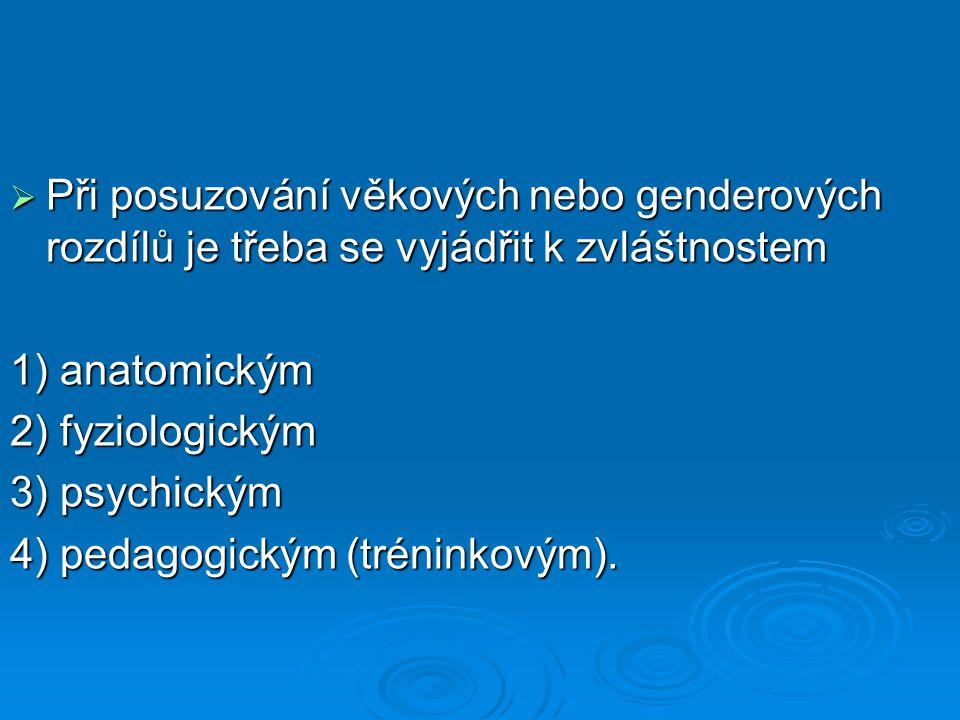  Při posuzování věkových nebo genderových rozdílů je třeba se vyjádřit k zvláštnostem 1) anatomickým 2) fyziologickým 3) psychickým 4) pedagogickým (tréninkovým).